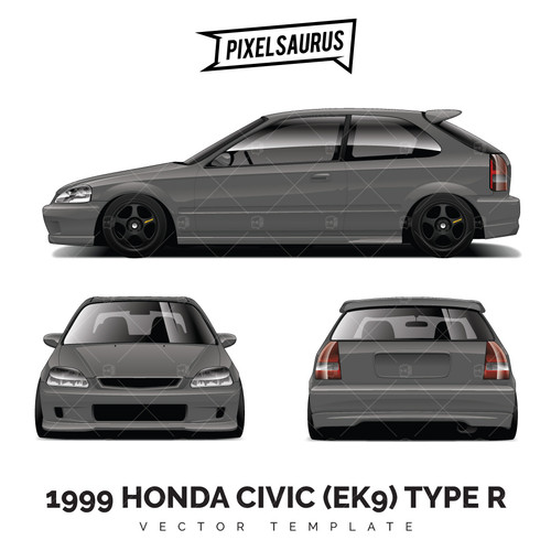 Honda Civic Eg Sedan Race Car Premium Vector Template Pixelsaurus