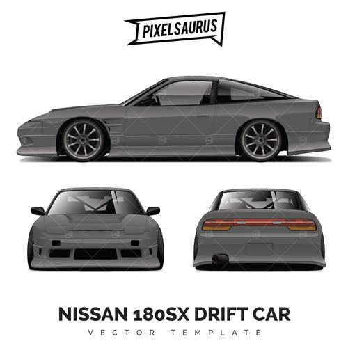 Nissan 180SX Silvia Drift Car Vector Template