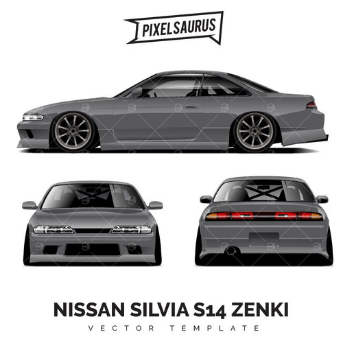 Nissan Silvia S14 Zenki Drift Car Vector Template