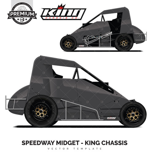 Dirt Track Midget King Chassis 'Premium' Vector Template