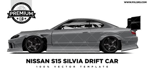 Nissan S15 Silvia (200sx) Drift Car 'Premium' Vector Template