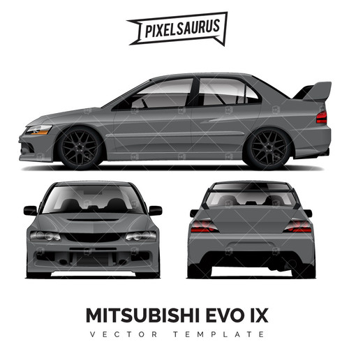 Mitsubishi Evolution (EVO) IX - Vector Template