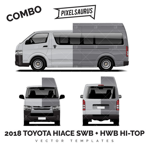 2018 Toyota Hiace / Regius Ace SWB + LWB Hi Roof vector Template