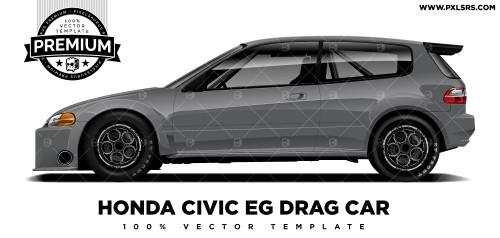 Honda Civic EG Drag Car 'Premium' Vector Template