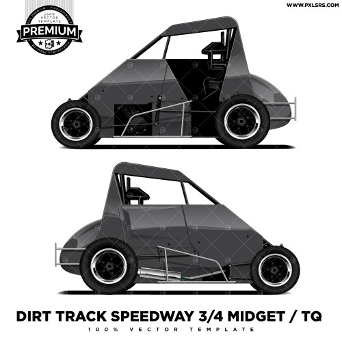 DIRT TRACK SPEEDWAY 3/4 MIDGET / TQ 'Premium' Vector Template