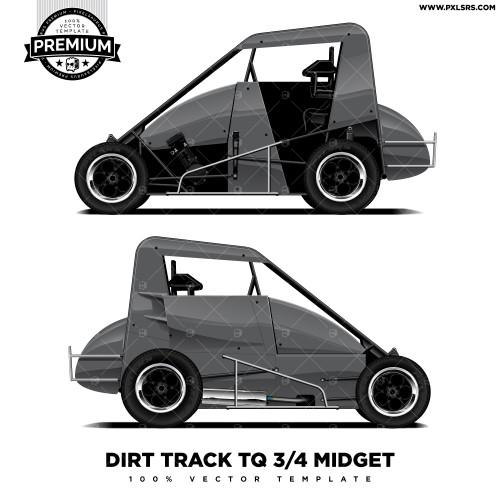 Dirt Track TQ 3/4 Midget 'Premium' Vector Template