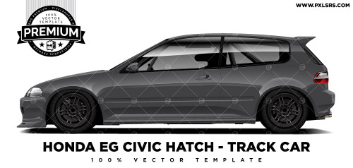 Honda EG Civic Hatch - Track Car 'Premium' Vector Template
