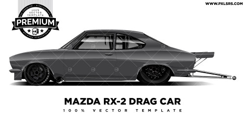 Mazda RX-2 – Drag Car 'Premium' Vector Template