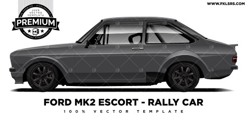 Ford MK2 Escort - Rally Car 'Premium' Vector Template