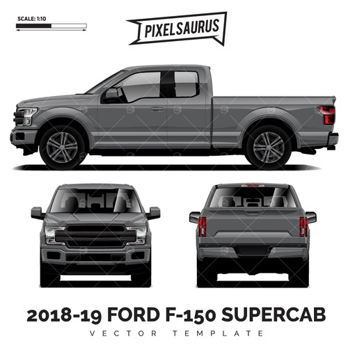 2015-2019 Ford F-150 SuperCab vector Template