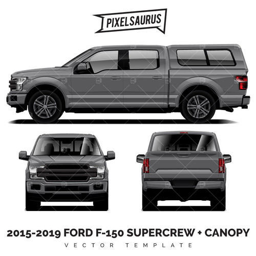 2015-2019 Ford F-150 Supercrew + Canopy vector Template