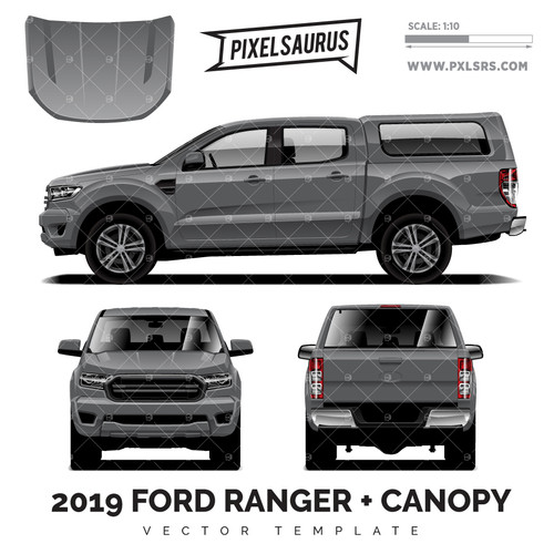 2019 Ford Ranger PX3 + Canopy vector Template