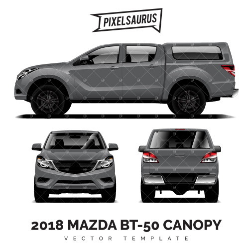 2018 Mazda BT-50 + Canopy vector Template