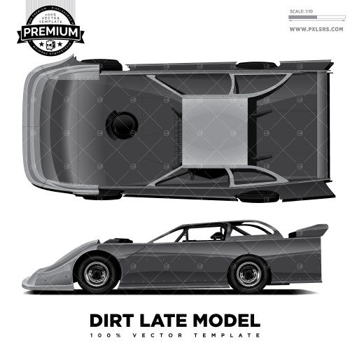 Dirt Late Model 'Premium' Vector Template - Top & Side