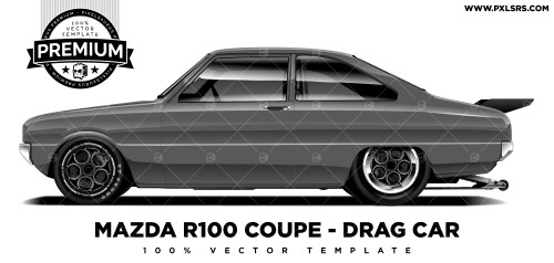 Mazda R100 Coupé Drag Car 'Premium' Vector Template