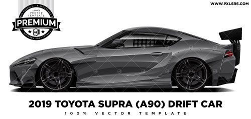 2019 Toyota Supra (A90) Drift Car 'Premium' Vector Template