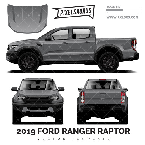 2019 Ford Ranger Raptor PX3 vector Template