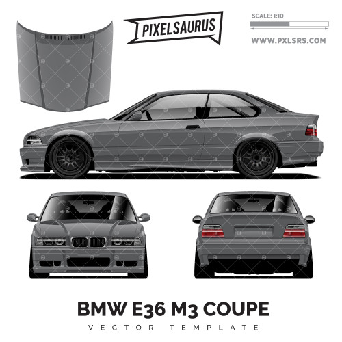 BMW E36 M3 Coupe vector Template