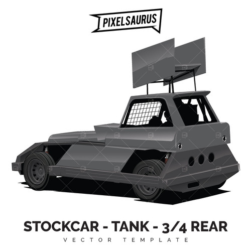STOCKCAR / SUPERSTOCK - Tank Chassis 'Perspective' Rear 3/4 Vector Template