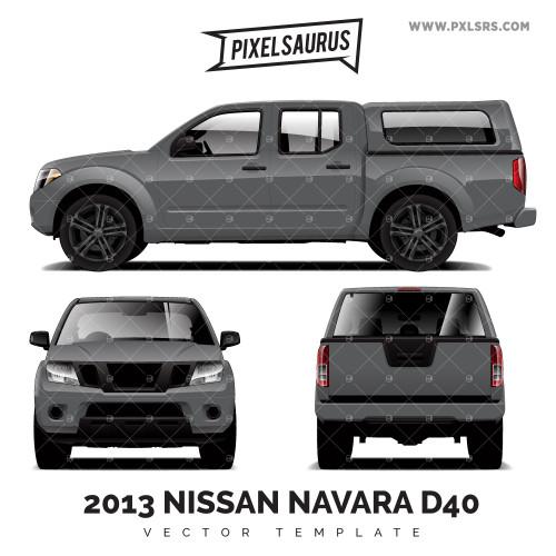 Nissan Navara/Frontier + Canopy (D40) Vector Template
