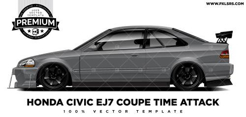Honda Civic EJ7 Coupé Time Attack 'Premium' Vector Template