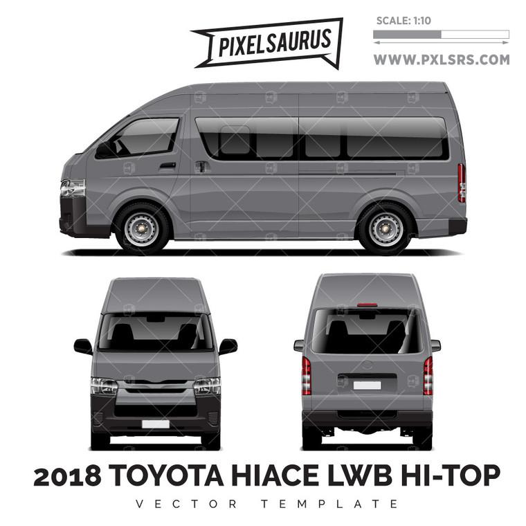 2004-2018 Toyota Hiace / Regius Ace (H200) LWB Hi Roof vector Template