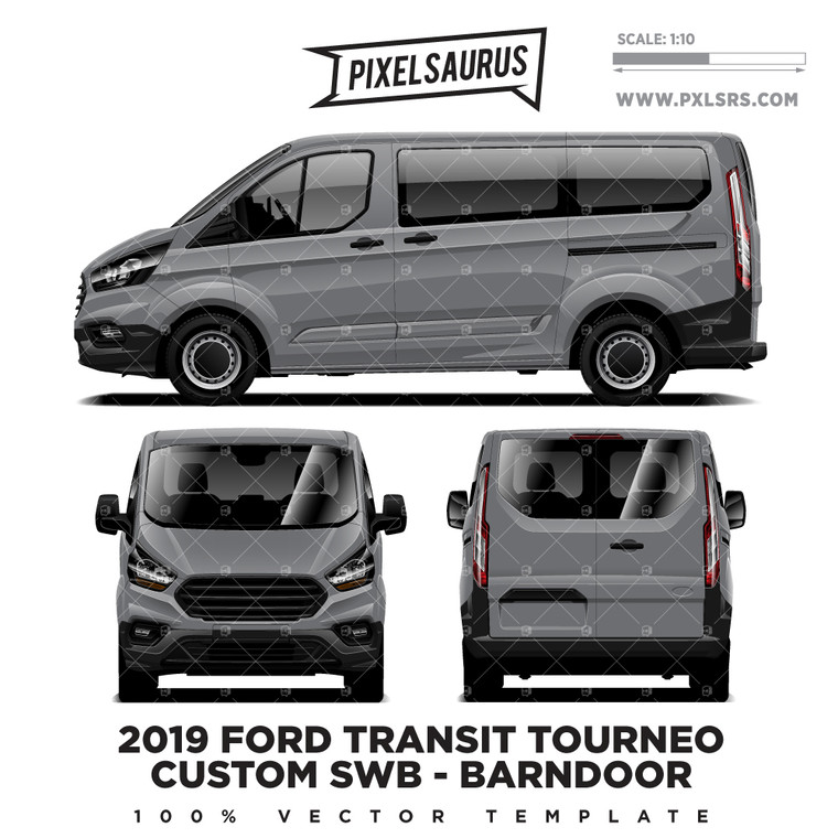 2019 Ford Transit Tourneo Custom SWB (Barndoor) Vector Template