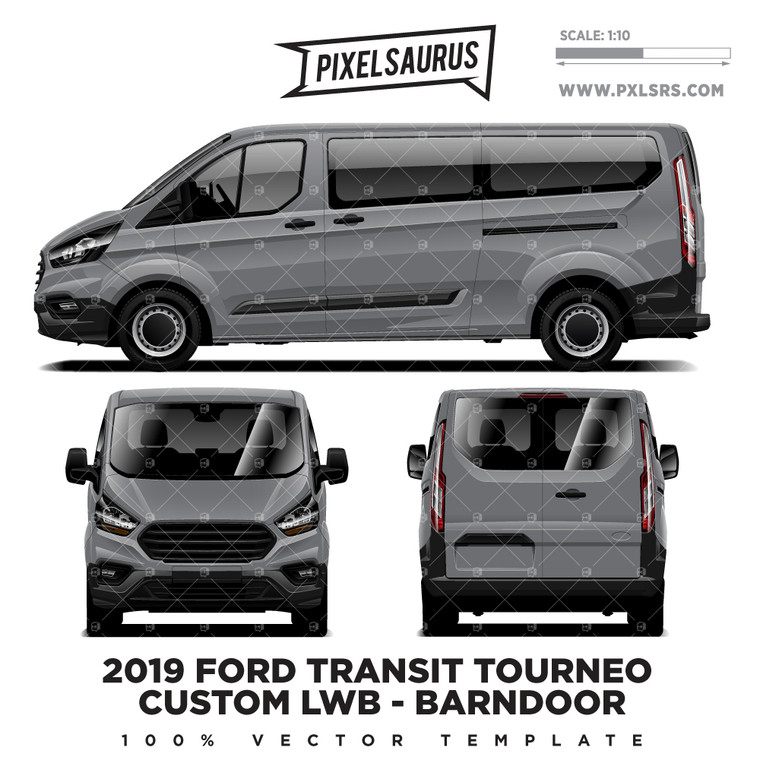 2019 Ford Transit Tourneo Custom LWB (Barndoor) Vector Template