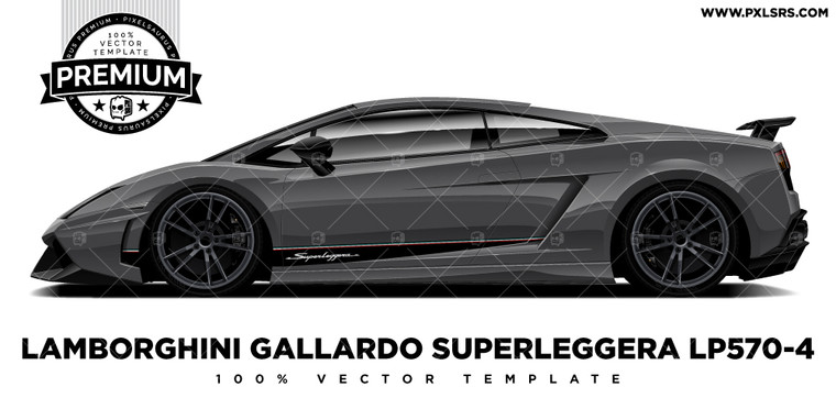 Lamborghini Gallardo Superleggera LP570-4 'Premium' Side Vector Template