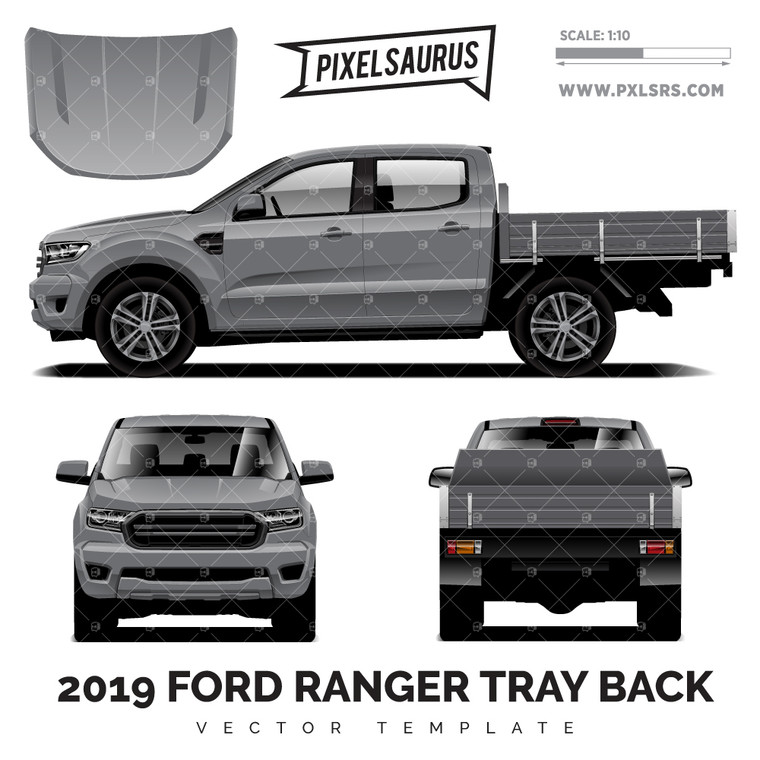 2019 Ford Ranger PX3 Tray Back vector Template