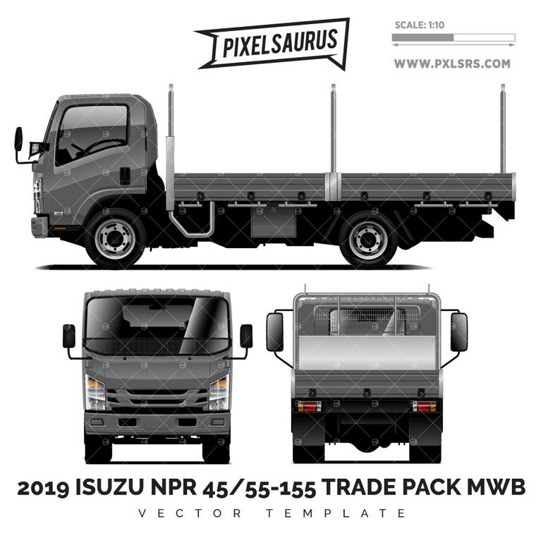 2019 Isuzu NPR 45/55-155 Trade Pack MWB - Vector Template