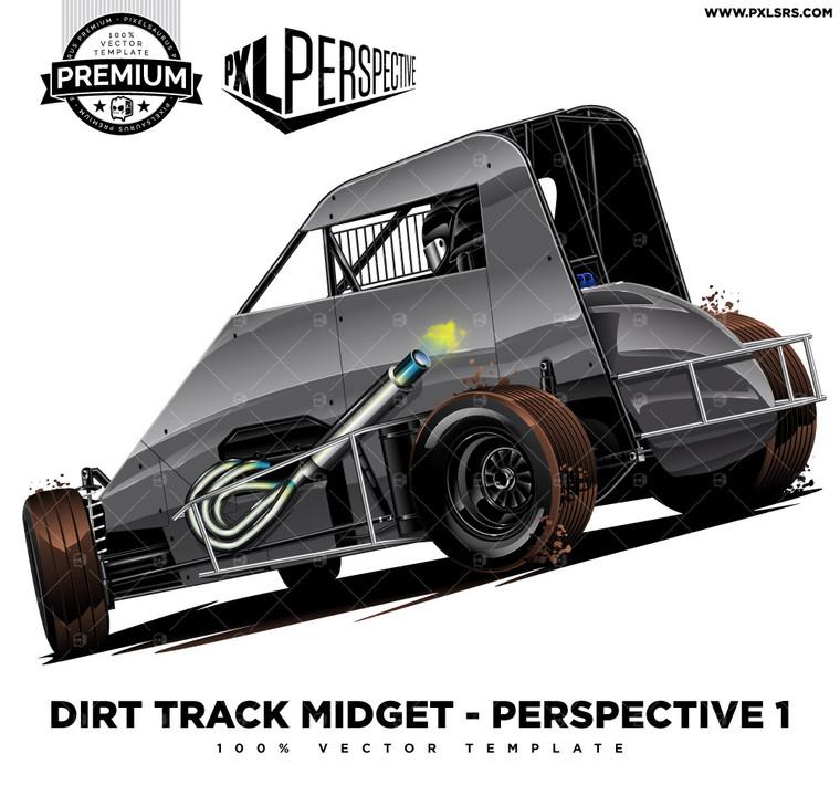 Dirt Track Midget Rear 'Premium Perspective' 100% Vector Template