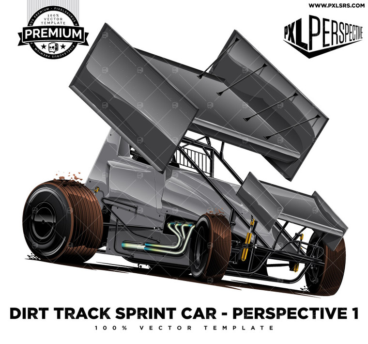 Dirt Track Sprint Car 'Premium Perspective' 100% Vector Template