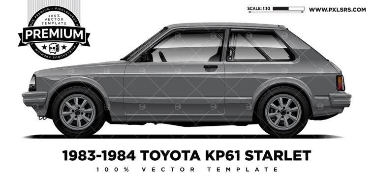 1983-84 Toyota KP61 Starlet 'Premium' Vector Template