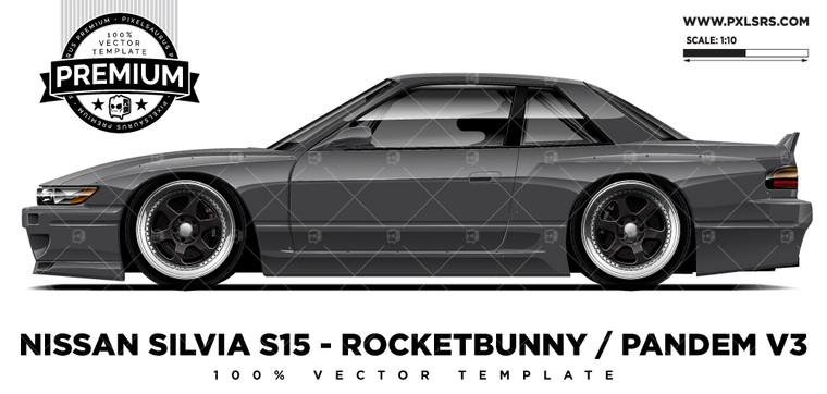 Nissan Silvia S13 Rocketbunny V3 'Premium' Vector Template