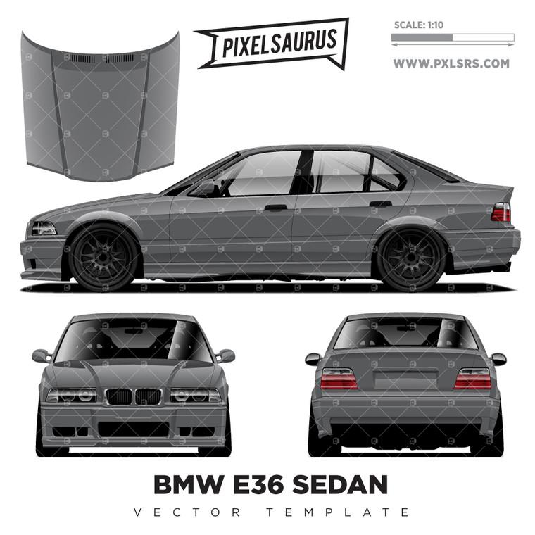 BMW E36 Sedan (Berlina) Vector Template