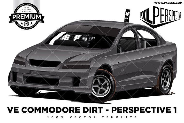 Holden VE Commodore Dirt Sedan Front 3/4 'Premium Perspective' 100% Vector Template
