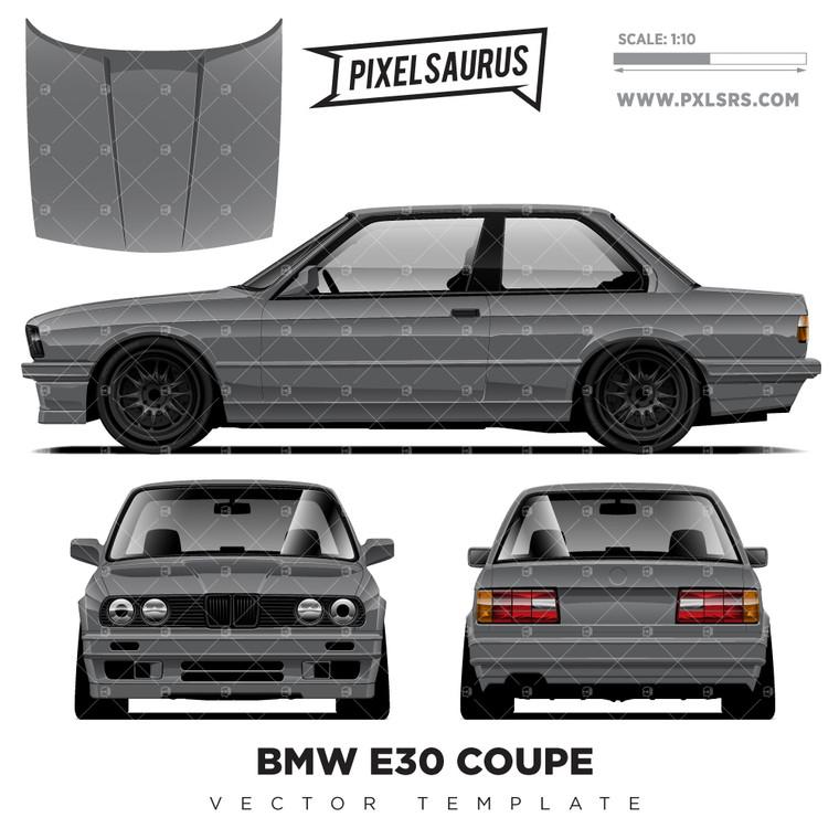 BMW E30 Coupe vector Template