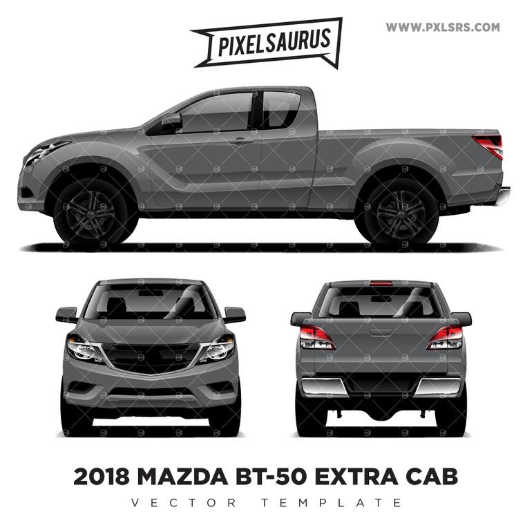 2018 Mazda BT-50 Extra Cab -  Vector Template