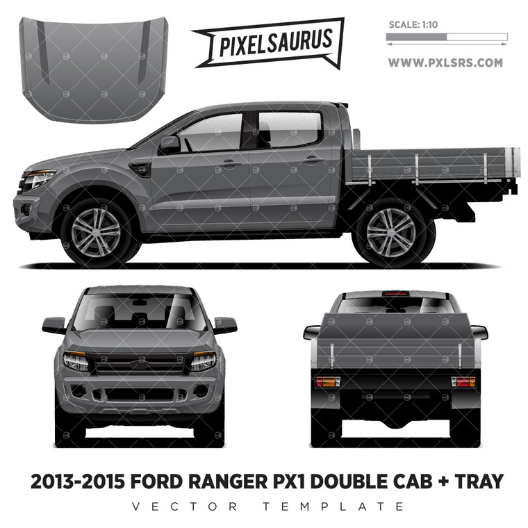 2013-2015 Ford Ranger PX1 Double Cab + Tray Vector Template