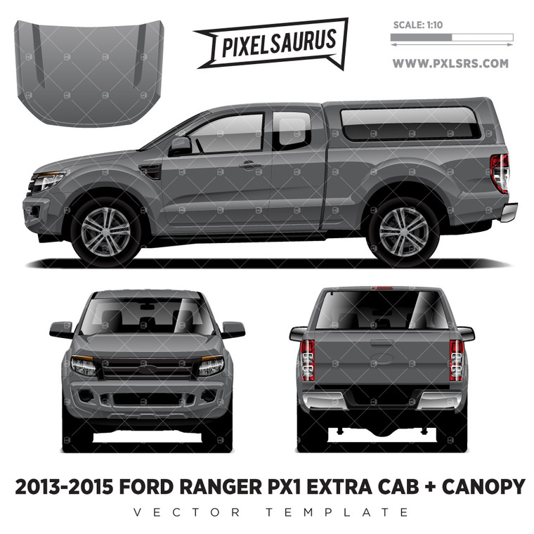 2013-2015 Ford Ranger PX1 Extra Cab + Canopy Vector Template