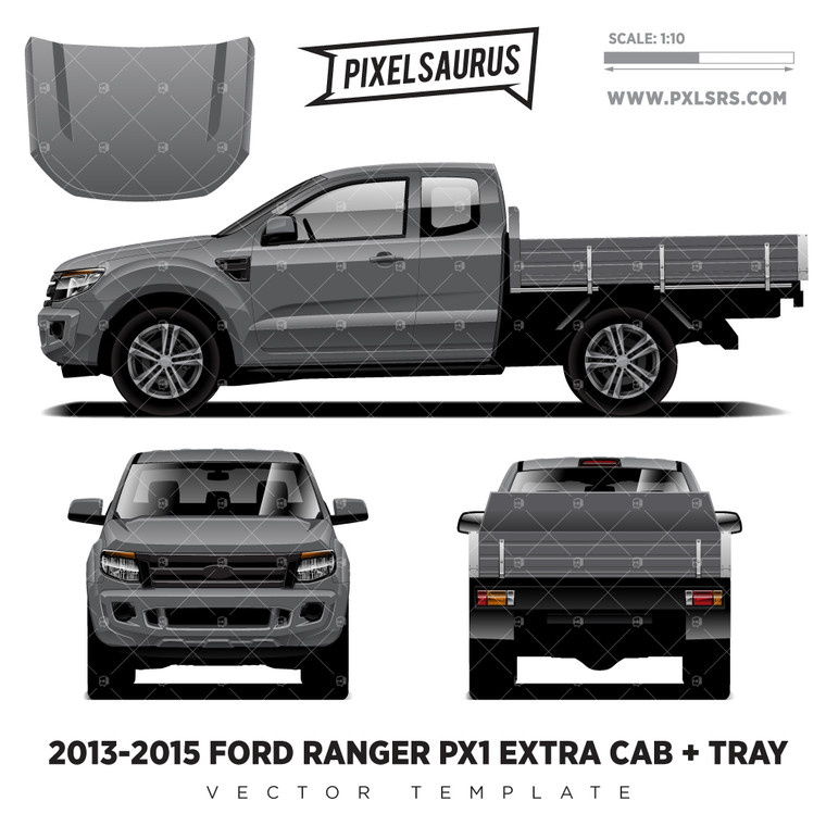 2013-2015 Ford Ranger PX1 Extra Cab + Tray Vector Template