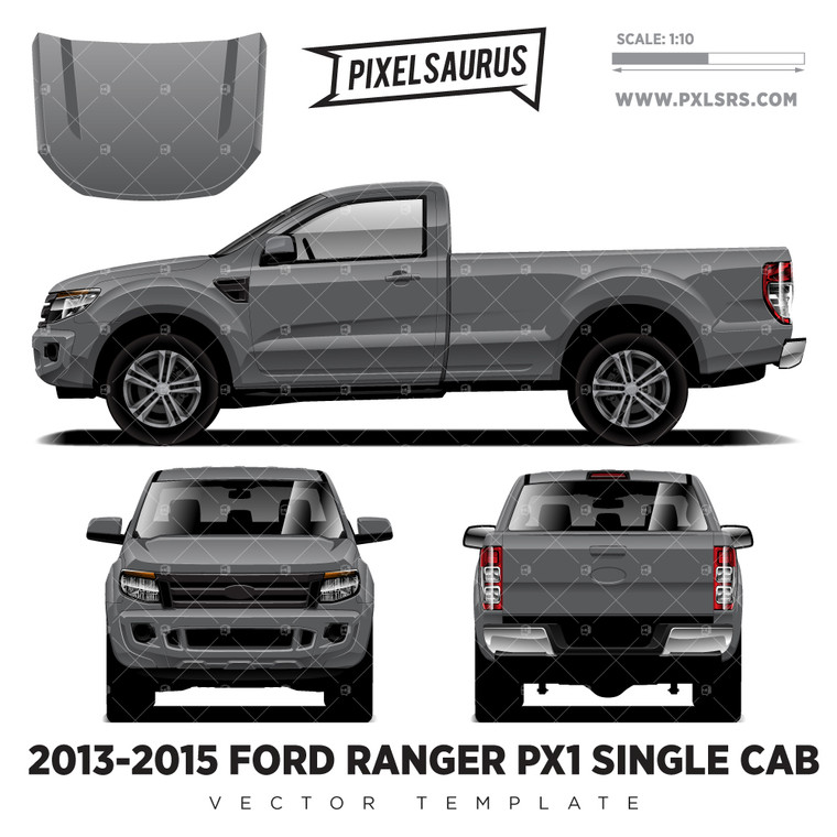 2013-2015 Ford Ranger PX1 Single Cab Vector Template