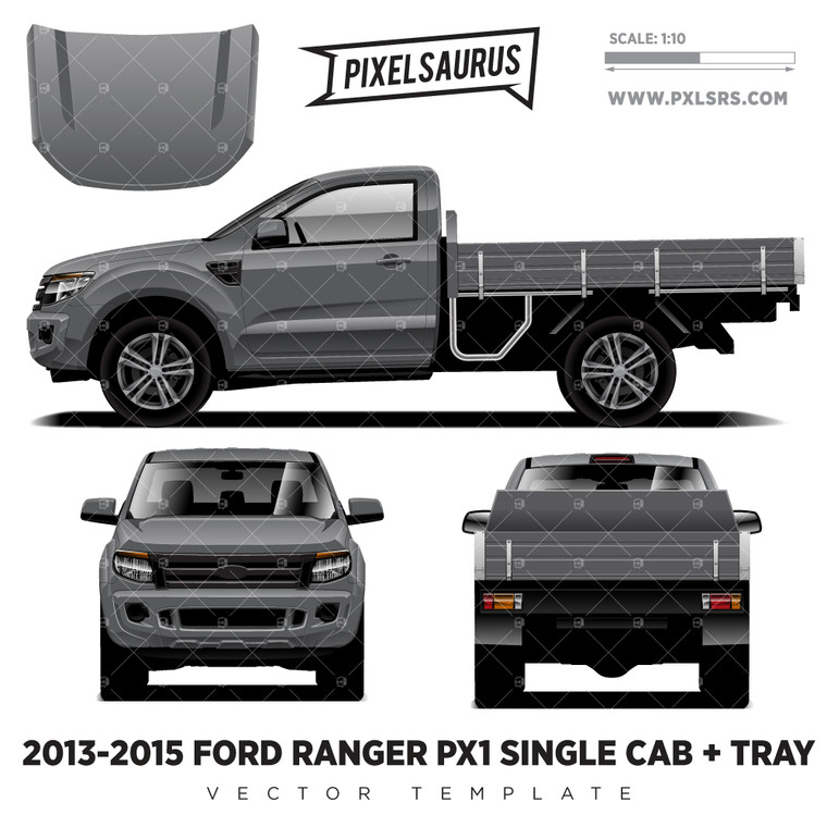 2013-2015 Ford Ranger PX1 Single Cab + Tray Vector Template