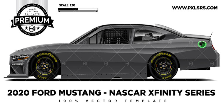 Ford Mustang Nascar Xfinity Series 'Premium' Side Vector Template