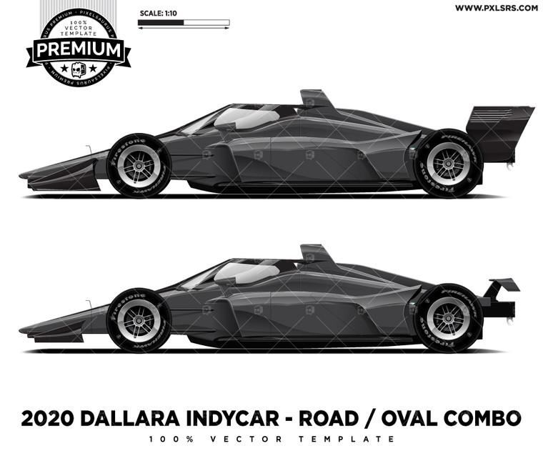 2020 Dallara DW12 IndyCar - Oval / Road Combo 'Premium' Vector Template