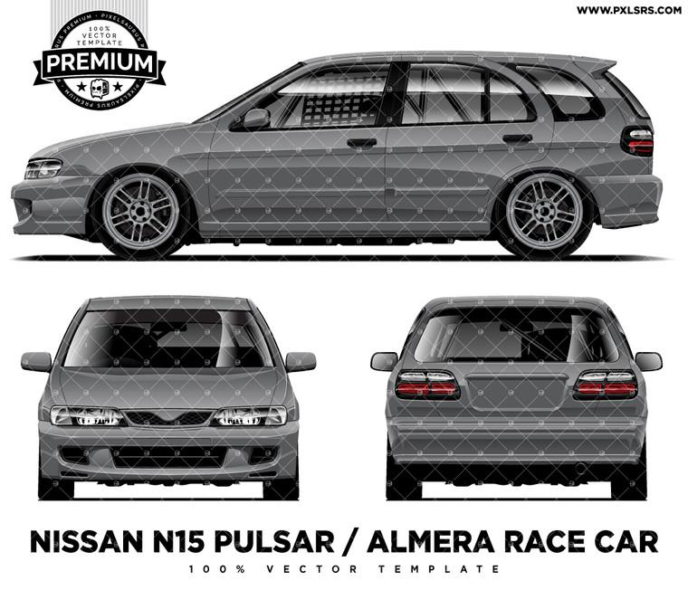 Nissan N15 Pulsar (Almera) Race Car Full 'Premium' vector template
