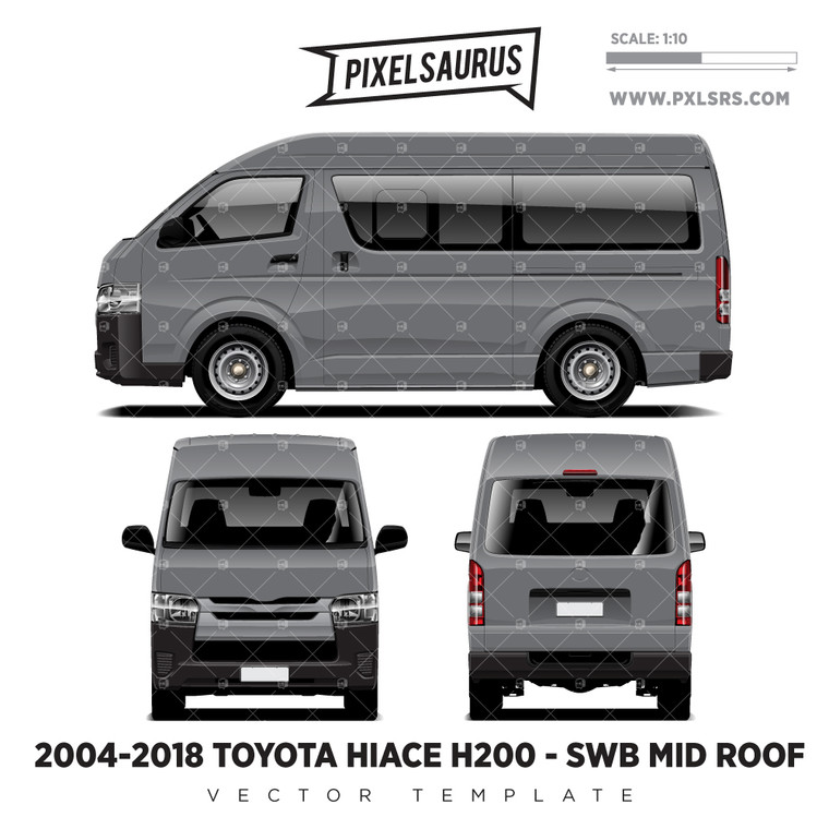 2004-2018 Toyota Hiace / Regius Ace (H200) SWB - Mid Roof  vector Template