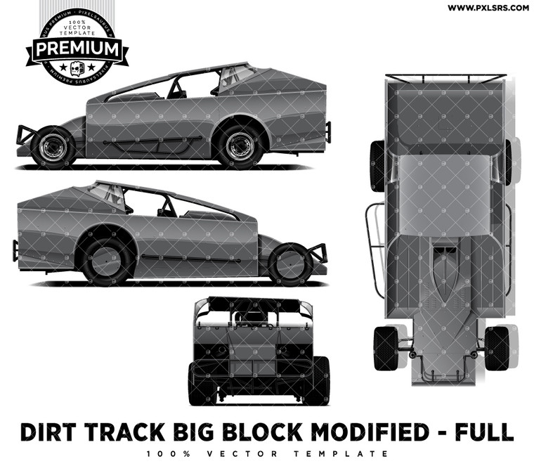 Bickwell Dirt Track V8 Big Block Modified +Top 'Premium' Vector Template