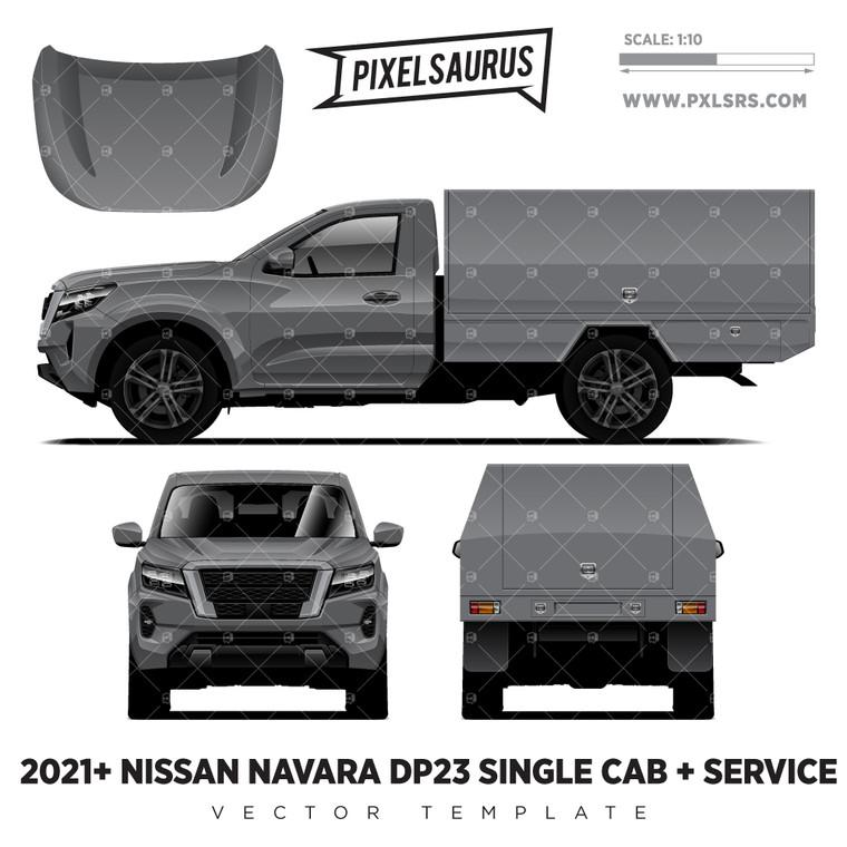 2021+ Nissan Navara NP300/D23 (Frontier) Single Cab + Service Vector Template